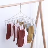 宿舍晾衣架曬襪夾晾襪子內衣內褲防風掛鉤單層不銹鋼多夾子晾曬架