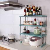 可疊加廚房置物架家用分層調料架雙層碗碟架臺面儲物架瀝水收納架 三層長款(60*26*65cm)