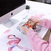 鼠標墊加熱暖桌墊辦公桌墊筆記本電腦鍵盤墊防水寫字墊暖手墊 特大號(推拉款印花)80*30cm