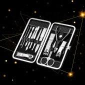 美甲工具套裝家用多功能掏挖耳勺指甲剪全套不銹鋼修剪指甲刀(12件套)