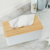 歐式加厚紙巾盒帶蓋抽紙盒木質遙控器收納盒 方形帶手機槽紙巾盒