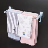 彎鉤形毛巾架免打孔衛生間壁掛式浴巾架浴室毛巾桿廁所掛件置物掛架無痕 3桿(短款40cm)