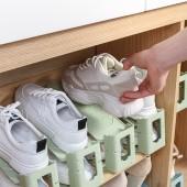 可調節雙層鞋托家用一體式鞋子收納架宿舍省空間簡易收納鞋架(pp淺色系)