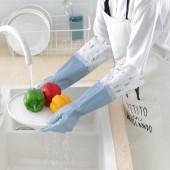 居家防水洗碗手套保暖膠皮手套家用廚房洗衣耐用寬口單層家務膠手套D-700(S)