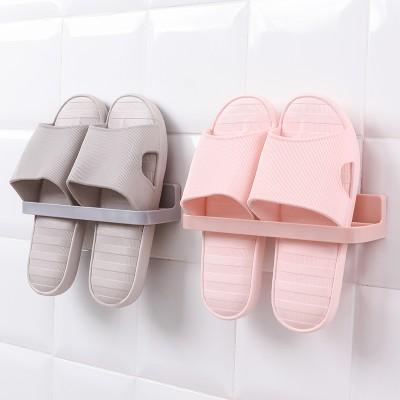 L型鞋架貼墻浴室收納鞋架墻壁壁掛式收納架免打孔整理架門后粘貼置物架(淺色系)
