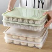平底平蓋餃子盒速凍餛飩托盤家用廚房大容量冰箱裝放冷凍水餃保鮮收納盒