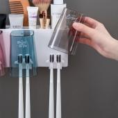 創意衛生間免打孔牙刷置物架牙杯牙刷收納架牙刷杯架子牙刷壁掛漱口杯套裝(四杯款)