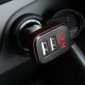 車載充電器手機車充一拖二點煙器USB快充印章狀汽車多功能智能快充插頭