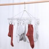 宿舍晾衣架曬襪夾晾襪子內衣內褲防風掛鉤雙層不銹鋼多夾子晾曬架(20夾)