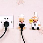 卡通小熊樹脂粘墻插頭掛鉤壁掛強力貼粘膠壁掛架承重廚房電源收納支架插座可愛粘鉤