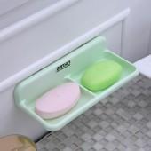30年老品牌振興 肥皂盒衛生間雙格吸盤瀝水皂盒置物架免打孔浴室香皂盒廁所肥皂盒 ZG177