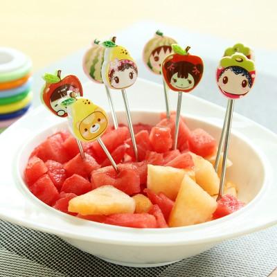 水果叉蛋糕插果叉寶寶不銹鋼水果刀叉套裝創意可愛小叉子(8個裝)RB118