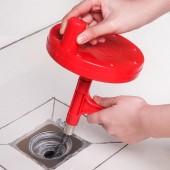 通下水道神器通馬桶工具家用廚房一炮通廁所堵塞鋼絲手搖捅管道疏通器 (紅色7米)