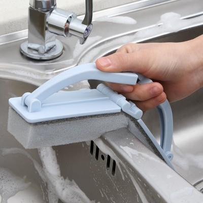 牛角可折疊帶柄海綿清潔刷控水海綿擦瓷磚刷長柄刷碗刷廚房刷地
