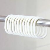 圓形窗簾塑料C型掛鉤環活扣家用窗簾掛環多功能c形環衛生間浴簾掛鉤(12個裝)