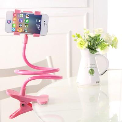 螺旋狀懶人支架手機支架掛脖子床頭多功能直播桌面床上通用創意加長夾子