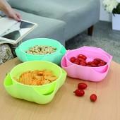 30年老品牌振興創意花瓣馬卡龍色系雙果盤客廳水果盤干果零食盤廚房瀝水盤 KSO562