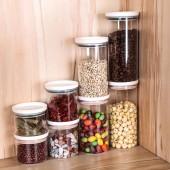 廚房塑料保鮮密封罐五谷雜糧豆子糧食儲存儲物罐子家居食品收納盒(小號250ml)