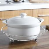 廚房不銹鋼圓形鍋架加厚放鍋架收納架置物架隔熱防燙鍋墊砂鍋架子 帶三腳底(小號)
