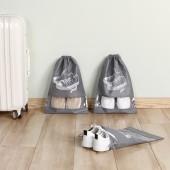 便攜整理收納包鞋袋鞋包防塵袋防潮鞋罩鞋套束口袋旅行鞋子收納袋(5個裝)中號