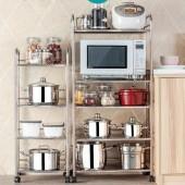廚房烤箱微波爐收納架多層儲物架鍋架雜物整理架落地式不銹鋼置物架(三層)