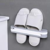 浴室可折疊三合一壁掛式拖鞋架免打孔置物架衛生間墻面收納架子