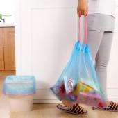 家用穿繩式垃圾袋加厚手提式廚房客廳臥室垃圾收納袋一次性塑料袋 中號(18只裝)