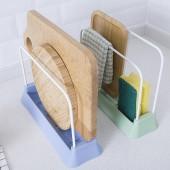 日本廚房雙杠形砧板瀝水收納架抹布收納工具鍋蓋架立式收納架菜板架