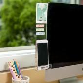 粘貼式電腦手機支架板帶充電孔顯示器便簽貼板亞克力屏幕便簽記錄夾