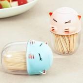 創意可愛卡通貓咪牙簽盒子家用客廳餐桌塑料牙簽筒隨身便攜牙簽罐