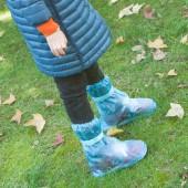 創意防水雨天兒童雨鞋套防滑加厚耐磨高筒雨靴子雨天防水鞋套 兒童款鞋套 鞋底長25cm 357
