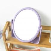 便攜式鏡子宿舍化妝鏡隨身鏡梳妝小鏡子360度可旋轉臺式雙面鏡子(圓形)