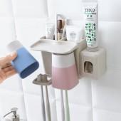牙刷置物架牙刷杯套裝衛生間家用壁掛情侶漱口杯洗漱杯套裝牙刷架JW-7211-B