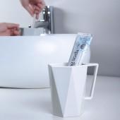 簡約情侶漱口杯幾何菱形塑料洗漱杯自帶手柄款旅行手柄刷牙杯喝水杯子J181301