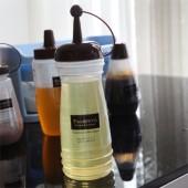 日式家用廚房調味瓶塑料家用番茄醬瓶壽司蜂蜜沙拉醬擠壓瓶果醬瓶螺旋圓柱調味瓶(大號)340ml
