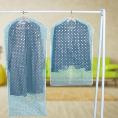 加厚衣服防塵罩衣罩防水透明掛衣袋衣服收納塑料袋掛式衣物防塵袋  可水洗(圓點款中號)