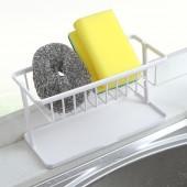 雙層鏤空海綿瀝水架底部帶墊腳家用廚房臺面清潔收納架多功能置物架