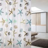 PE浴室防水加厚防霉浴簾套裝免打孔衛生間門窗簾隔斷淋浴布簡約掛簾 180*200cm