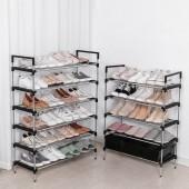 不銹鋼多層鞋架門口收納鞋架組合式簡易鞋架子家用室內收納神器(12粗管鞋架66.5cm)