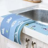 卡通自粘水槽防水貼廚房臺面貼紙浴室洗漱臺靜電貼衛生間洗手臺吸水貼