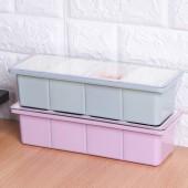 鹽罐調味罐家用廚房用品味精佐料盒收納盒四格調味盒方形長款透明蓋調料盒(光面款)