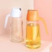 家用自動開合玻璃油壺廚房防漏油罐帶蓋調味料瓶醋瓶油瓶(640ml)1037