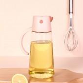 2021新款浩克自動開合玻璃油壺家用防漏自動翻蓋調味瓶帶蓋有關調料瓶油瓶(550ml)1016