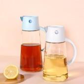 2021新款浩克自動開合玻璃油壺家用防漏自動翻蓋調味瓶帶蓋有關調料瓶油瓶(650ml)1016