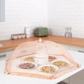 家用飯菜罩子防蒼蠅蓋餐桌罩剩菜食物飯罩家用防塵遮菜傘可折疊蕾絲邊菜罩(1918)圓形