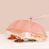 家用飯菜罩子防蒼蠅蓋餐桌罩剩菜食物飯罩家用防塵遮菜傘可折疊蕾絲邊菜罩 (日月星款) 正六邊形