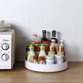 可旋轉調味盤置物架廚房收納神器桌面多功能防滑收納盤雙層轉盤圓形(單層加高款大號)