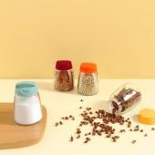 廚房調料盒家用調料罐子調味罐鹽罐日式雙開口玻璃調料瓶四件套(150ml)