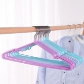 多功能防滑浸塑衣架家用掛曬衣服收納架子宿舍干濕兩用撐衣服架撐子006(10只裝)
