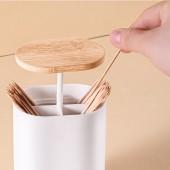 木質圓蓋分格牙簽筒家用客廳按壓式牙簽盒便攜式隨身牙簽罐餐桌擺件
